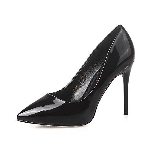 AalarDom Mujer Sin cordones Puntiagudo Tacón Alto Material Suave Sólido De salón Negro-10CM