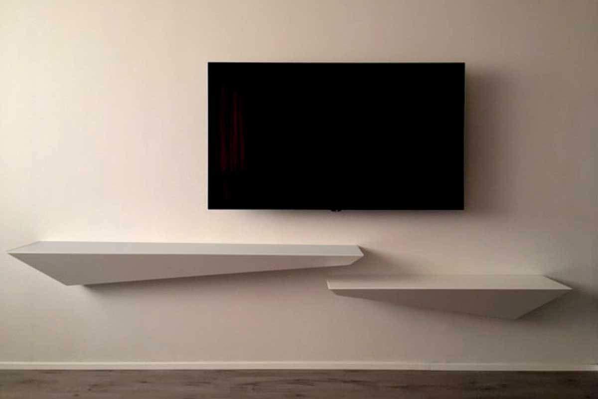 Estantería de diseño en madera lacada blanco mate cm 160x30 ...