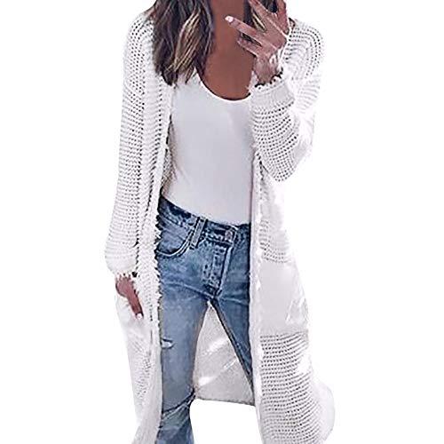 Kangma Womens Long Sleeve Knitting Cardigan Tops Ladies Autumn Contrast Jacket Shirts White