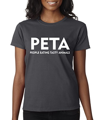 Tasty Animals People Eating (New Way 608 - Women's T-Shirt PETA People Eating Tasty Animals Parody Small Charcoal)