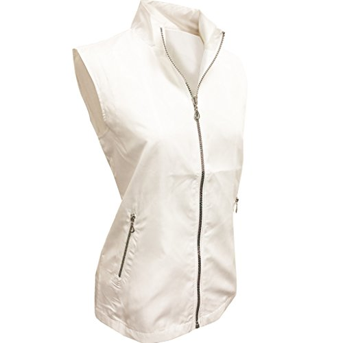 (Monterey Club Ladies Lightweight Mini Plaid Zip-up Vest #2791 (White, X-Large))