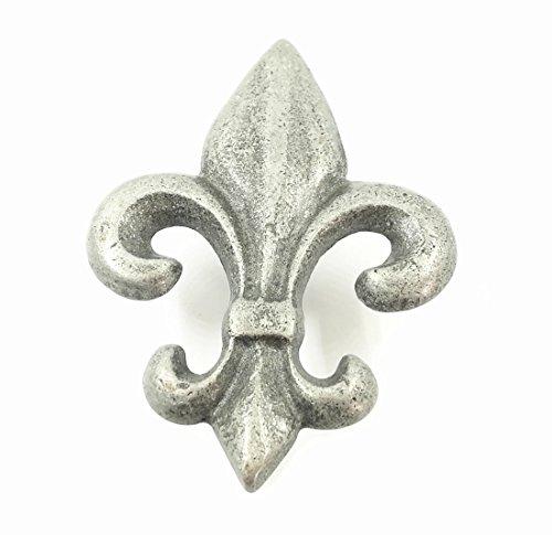 LBFEEL Fleur De Lis Knobs Pulls Handles for Dresser Drawer Kitchen Cabinet in 2 Colors (Vintage Silver)
