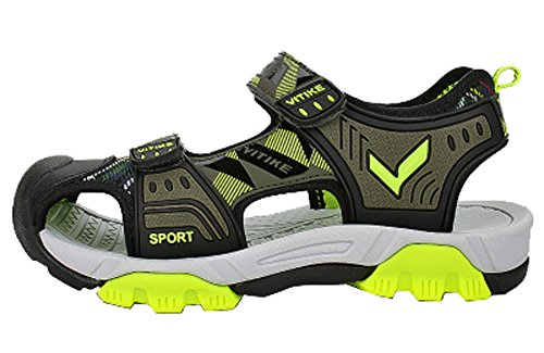 VECJUNIA Boys Adventurous Closed Toe Hook-and-Loop Sport Sandals Olive 5 M US Big Kid by VECJUNIA (Image #8)