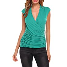 Zeagoo Women's Ruched Cross-front V Neck Sleeveless Side Stretch Slim Blouse