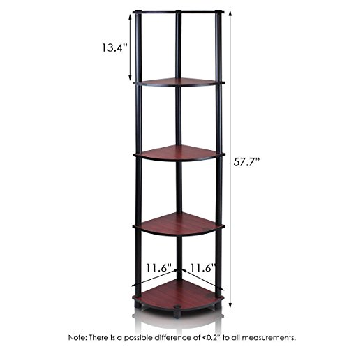 5-Tier Lima Corner Display Rack Shelf, Dark Cherry Black 99811DC/BK Sturdy on flat surface Easy no hassle no tools 5-minutes assembly