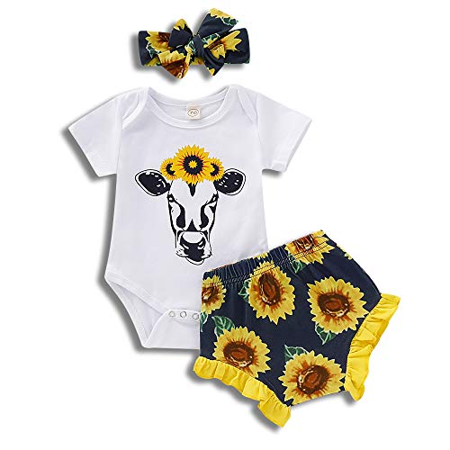 3Pcs Newborn Infant Baby Girl Summer Outfits Sunflower Cow Romper Bodysuit Floral Shorts Headband Clothes Set (White, 3-6 Months) -