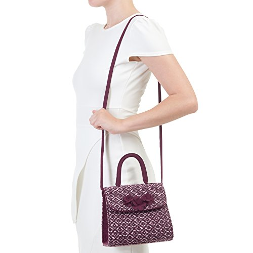 LADIES RUBY SHOO BARI BURGUNDY TWEED VEGAN FRIENDLY BOX BAG HANDBAG