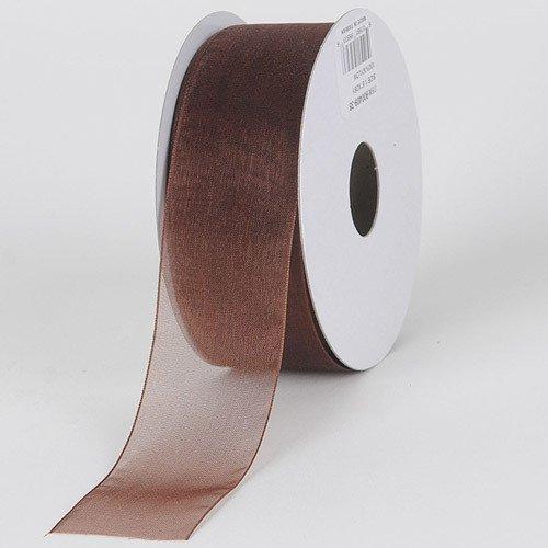 (BBCrafts 2-1/2 inch x 25 Yards Sheer Organza Ribbon Decoration Wedding Party (Chocolate Brown))