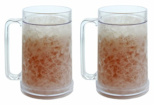 Wall Plastic Mug - Double Wall Gel Frosty Freezer Mugs 16oz, Set of Two, Clear