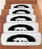 iPrint Non-Slip Carpets Stair Treads,Animal,Big Polar Bear Walking Side View Furry Creature Arctic Mammal Illustration,Black and White,(Set of 5) 8.6''x27.5''