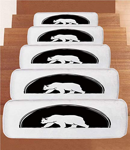 iPrint Non-Slip Carpets Stair Treads,Animal,Big Polar Bear Walking Side View Furry Creature Arctic Mammal Illustration,Black and White,(Set of 5) 8.6''x27.5'' by iPrint