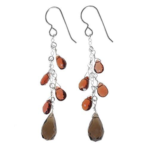smokey-quartz-briolette-and-garnet-multi-natural-gemstone-sterling-silver-handmade-earrings-by-ashan