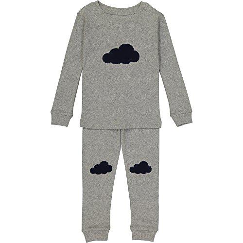 Allie & Oliver Unisex Toddler Pajamas 100% Cotton Knit Pjs Set, Grey/Navy Cloud, 4t by Allie & Oliver