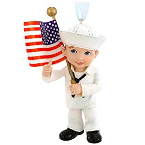 United States Navy Military Kid with US Flag Christmas Ornament NA2143 New USN