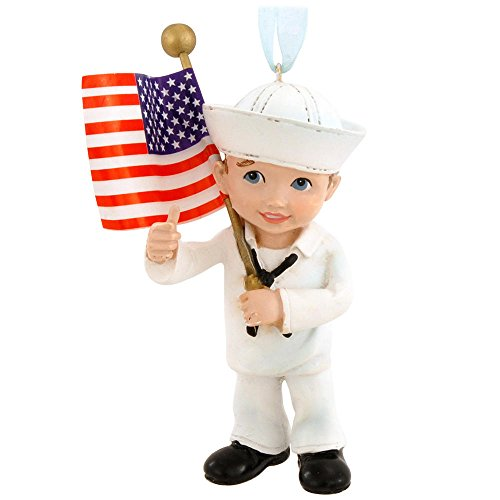 United States Navy Military Kid with US Flag Christmas Ornament NA2143 New USN ()