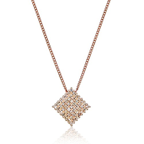 "White Gold Diamond Square Pendant - ELLA SIMPLY ELEGANCE SQUARE PENDANT 14k gold diamonds pendant with 18"" necklace chain beautiful setting with natural diamonds I-J color Single cut 0.20 cttw (rose-gold)"