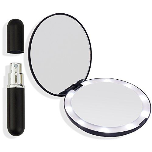 (Compact Mirror with LED Lights Black Travel Size Makeup, hand held purse mirror with refillable perfume)