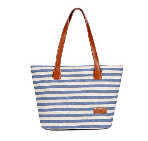 [LuckyZ Women's Handbag Tote Summer Beach Stripes Purse Tote Shoulder bag, Blue] (Stripe Shoulder Tote Bag)