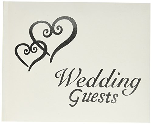 Darice VL0016 Wedding Guests G Book with Linked Silver Hearts