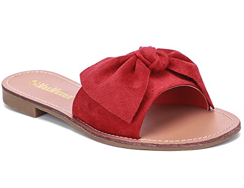 (MaxMuxun Women Shoes Suede Bow Tie Flat Sandals Comfort Slip On Slides (6 US/37 EU,)