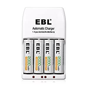 EBL EBL-AA-Charger  4 Pack AA 2000mAh Ni-MH Rechargeable Batteries with 4 Bay Smart AA AAA Battery Charger, Battery Case included