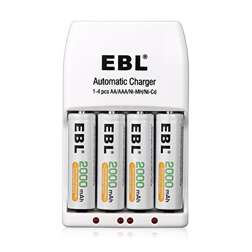 EBL 4 Pack AA 2000mAh Ni-MH Rechargeable Batteries with 4 Bay Smart AA AAA Battery Charger, Battery Case included