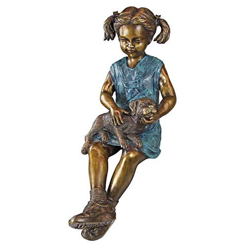 Girl with Dog Bronze Garden Statue
