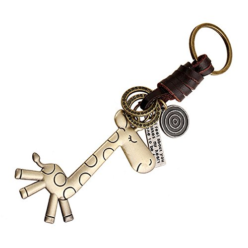 Nikgic Key Chain Keychain Giraffe Pendant Key Rings Vintage Woven Leather Key Chain for Ornaments Pendant Christmas Father Mother Gifts (Bronze color)
