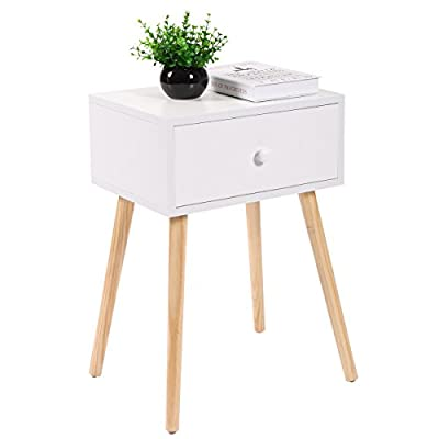 "LAZYMOON White Mid Century Modern Side End Table Nightstand w/ Drawer 23.1""H"