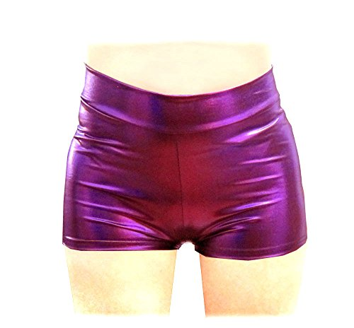 SACASUSA (TM) Shiny Stretchy Metallic Mini Shorts Hot Pants in Purple Small - Metallic Hot Short
