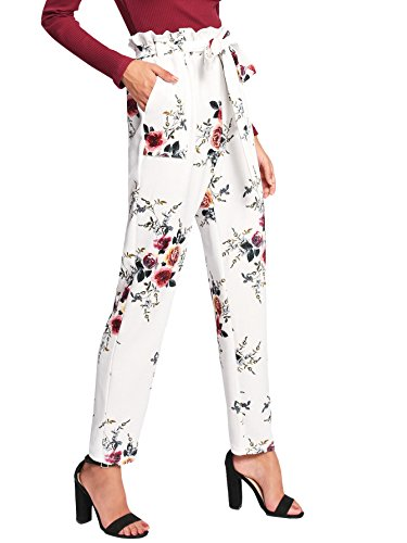 SweatyRocks Women's Floral Belted High Waist Pants Casual Lounge Pants With Pockets White ()
