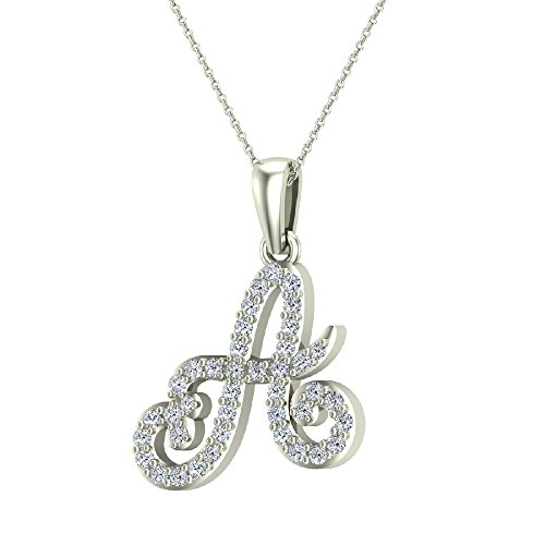 A Letter Initial Monogram Diamond Charm Necklace 0.60 Carat Total 18K White Gold ()