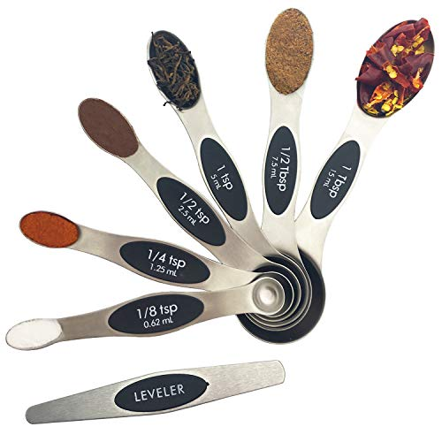 Kingware Home Metal Magnetic Measuring Spoons with Double Sided,18/10 Stainless Steel Measuring Spoons Set for Measuring Dry and Liquid Ingredients For Home Kitchen(7pcs) ()
