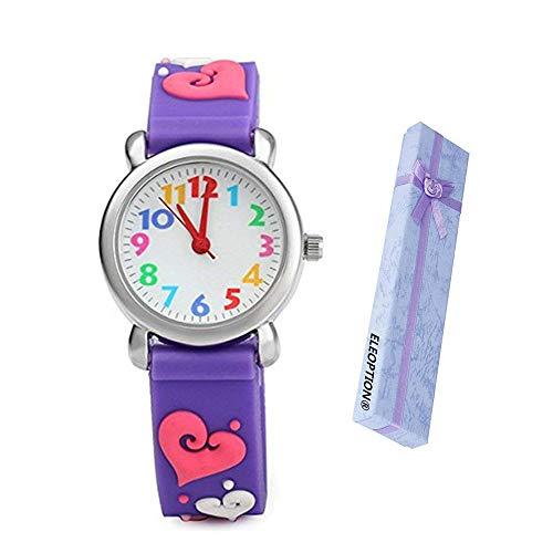 Eleoption Waterproof Kid Watches 3D Cute Cartoon Digital Silicone Wristwatches Time Teacher Gift for Little Girls Boy Kids Children (Love- Purple) -