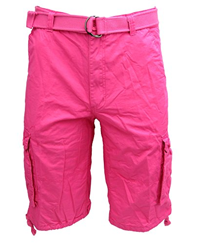 Henry & William Men's Cotton Twill Belted Lightweight Cargo Short - Reg and Big and Tall Sizes, Lightweight Hot Pink
