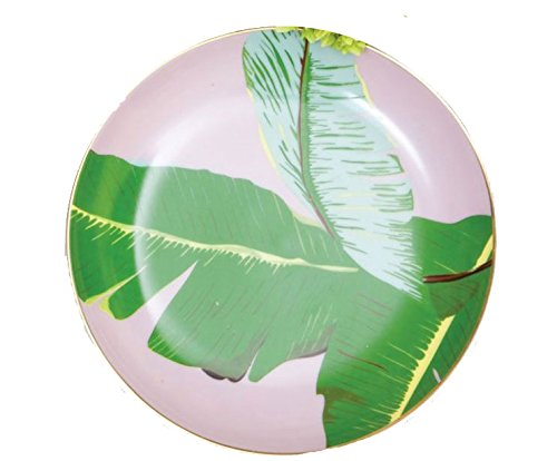 Banana Leaf Porcelain - 8 Oak Lane Botanical Banana Leaf Design Appetizer Plates (Set/4)