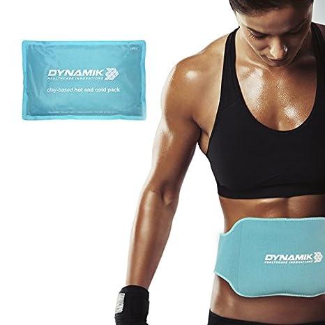 Dynamik Products - Bolsa de arcilla para aplicar frío y calor - Alivio del dolor abdominal y de la parte baja de la espalda - Con banda de compresión ...