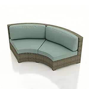 Malibu Curved Sectional Sofa Wicker Collection (Cast Ash)