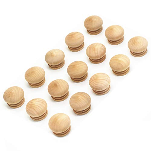 WEICHUAN 15PCS Round Wood Unfinished Cabinet Furniture Drawer Knobs Pulls Handles (Diameter: 1-3/8 Inches Height: 1 Inch)