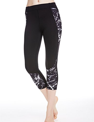 Icyzone Women's Printed Active Workout Capri Leggings Fitted Stretch Tights (M, MONOCHROME)