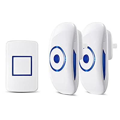 FAMILOVE Smarthome Wireless Doorbell with Receiver Operating Range with 36 Extra Loud Chimes for Home Office and Hospital, LED Indicator on Push Button Transmitter