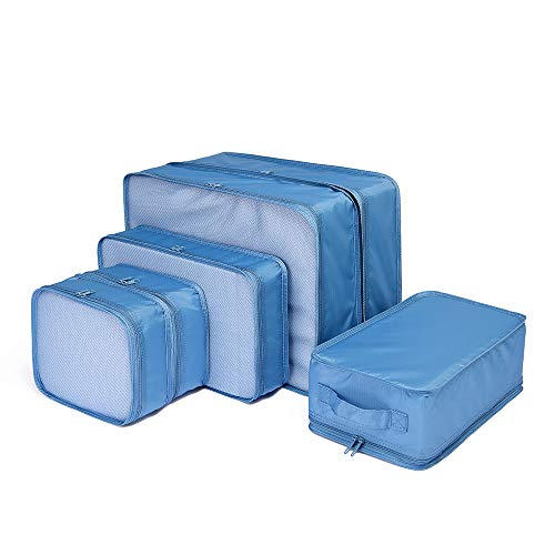 JJ POWER Travel Packing Cubes 6 Set, Luggage Packing Organizers for Week Trip, Packing Bags Large/Medium/Small + Shoe Bag (Sea Blue)