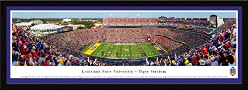 (LSU Football - 125th Anniversary - 42x15.5-inch Single Mat, Select Framed Picture by Blakeway Panoramas)
