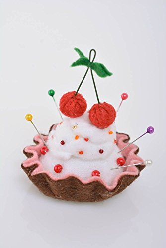 - Beautiful homemade felt fabric soft pin cushion Cake with Cherries craft supply