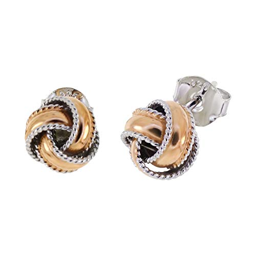Rope Infinity Knot Love Sterling Silver Two Tone Stud Earrings (RoseGoldtone) (Tone Two Ring Tiffany)