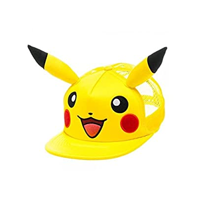 Superheroes Brand Pokemon Pikachu Big Face with Ears Trucker Snapback Hat/Cap By