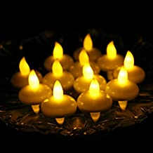 Acmee Battery Included LED Floating Tealight Waterproof Flameless Candle for Festival Party Wedding (Yellow)