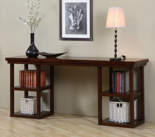 Walnut Cherry Ladder Console Table. The ladder console table features a solid rubberwood frame with a nice walnut cherry finish. It has a modern ladder design with four open shelves.