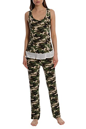- Women's Printed Light and Airy Sleepwear Set Flowy Racerback Tank Top & Pajama Bottoms - Camo - Large