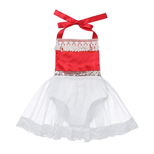 (YiZYiF Baby Toddler Girls' Princess Mona Birthday Party Costumes Beach Holiday Bowknot Lace Tutu Dress up Red&White 6-12 Months)